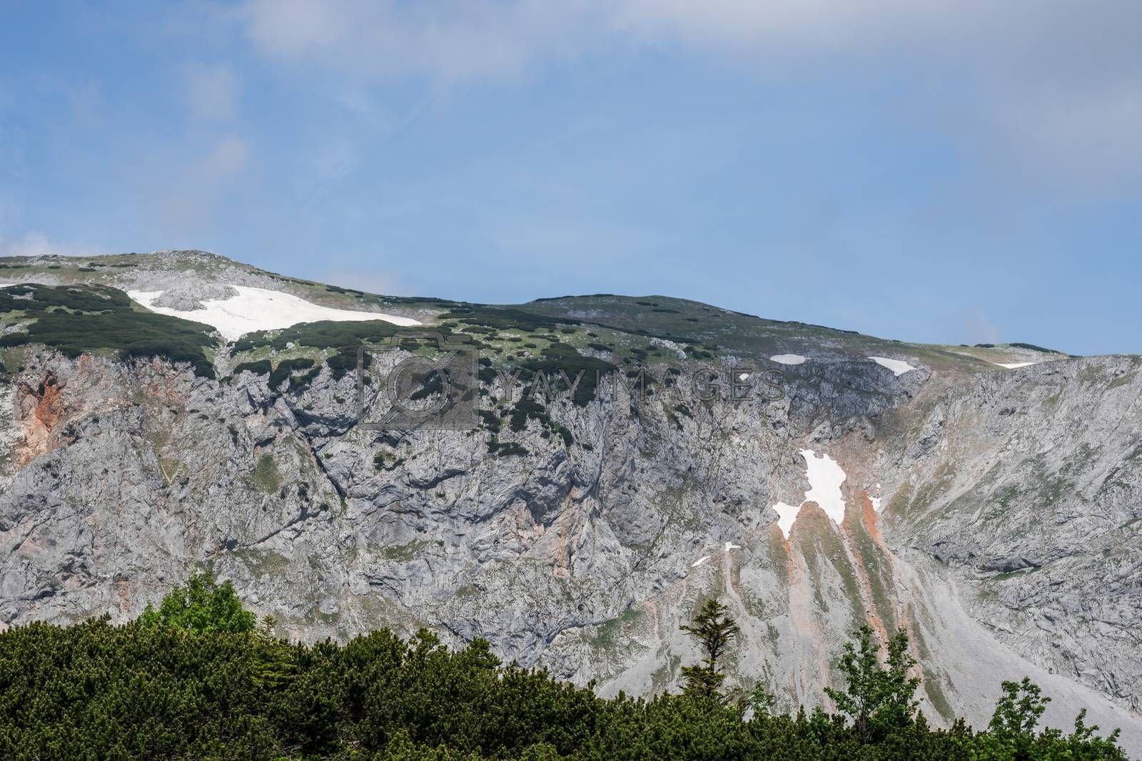 high rock wall with snow in summer while hiking
