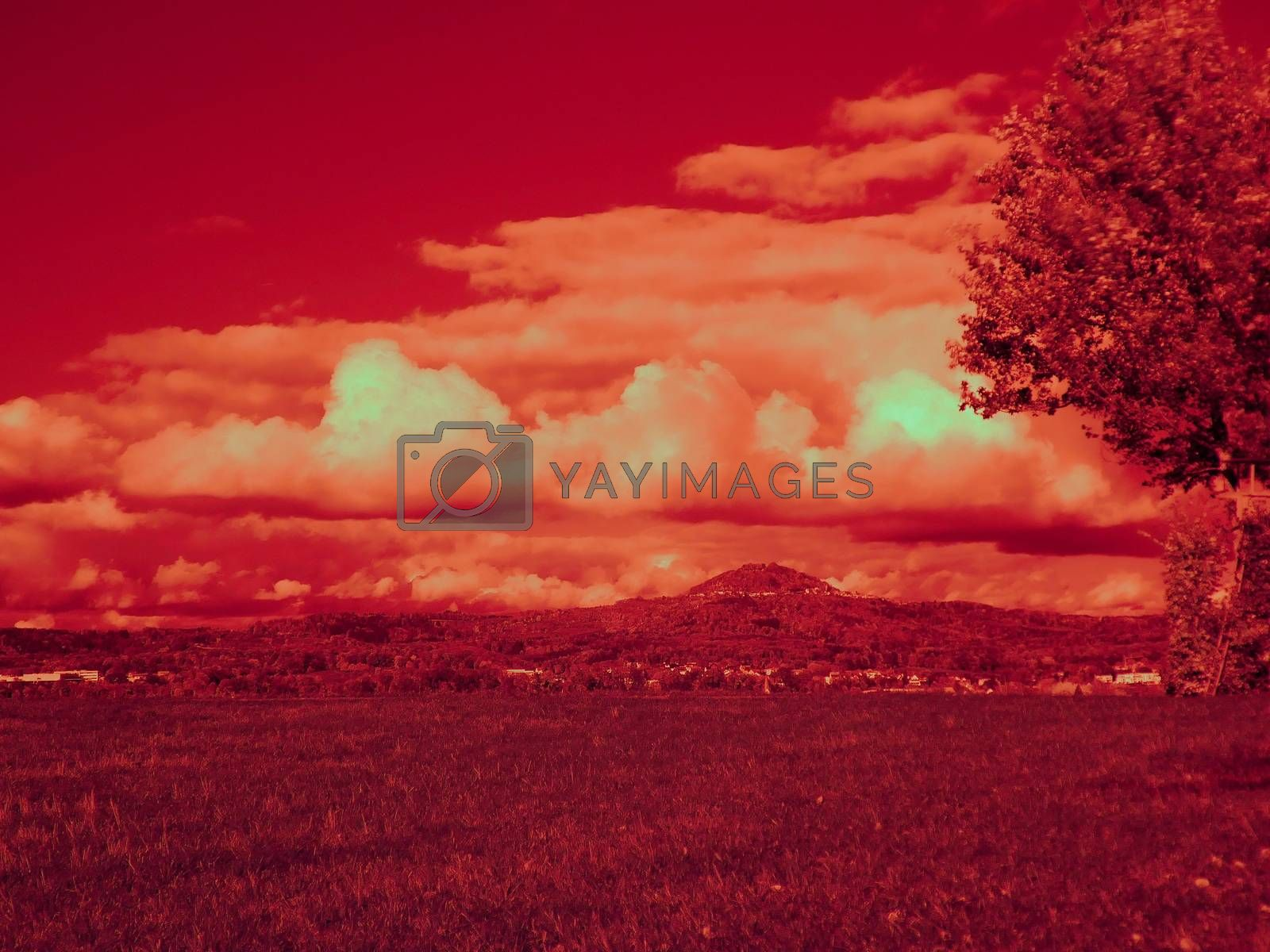 Infrared photo of a landscape with a hill in Germany