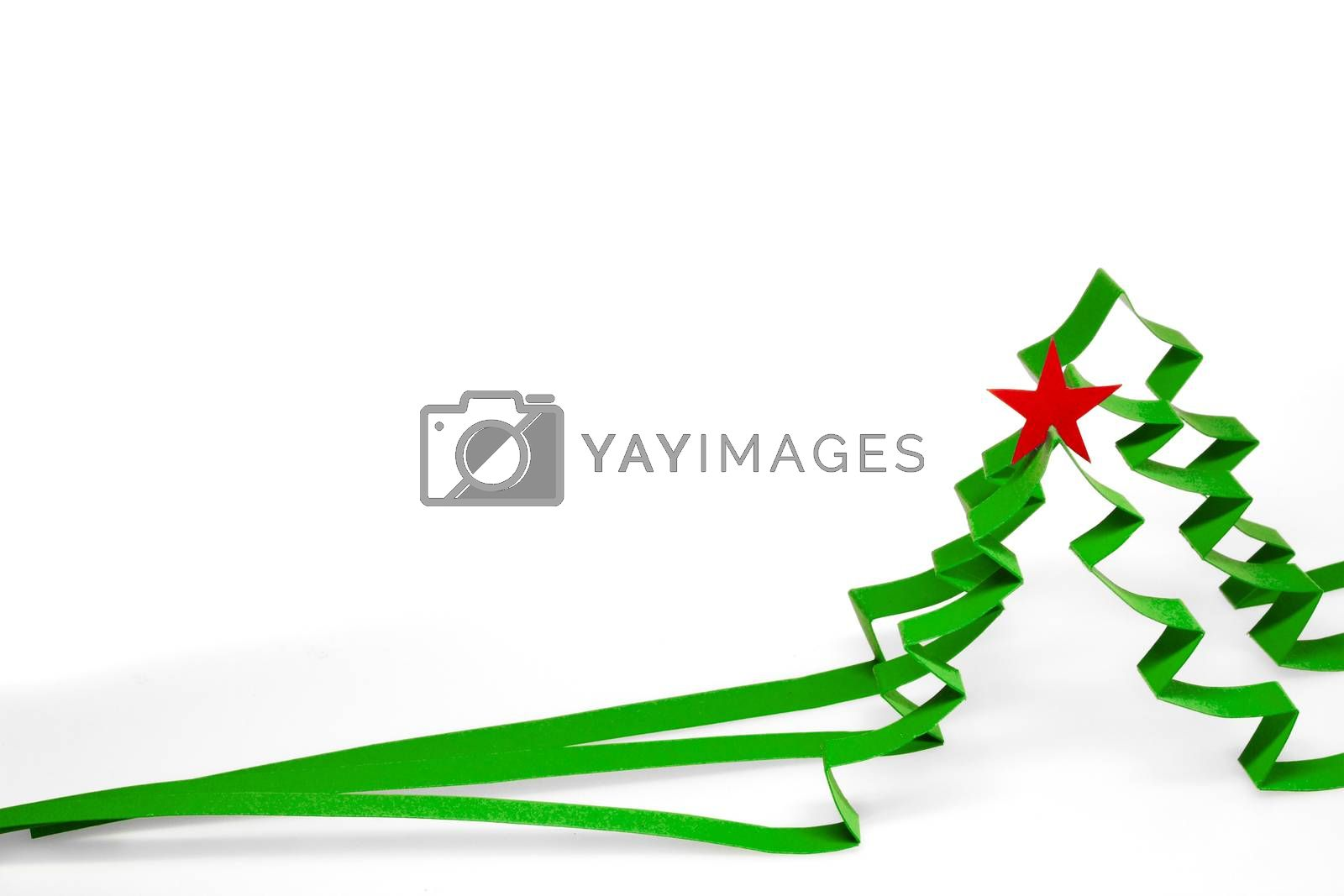 Creative design of paper christmas tree isolated on white background