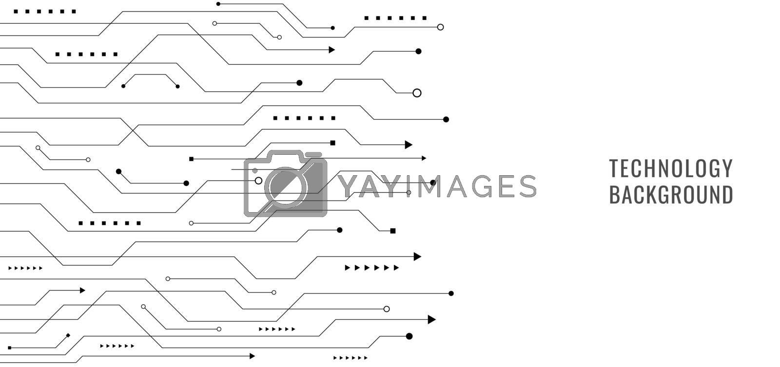 Black line circuit board on white background technology concept. Vector illustration