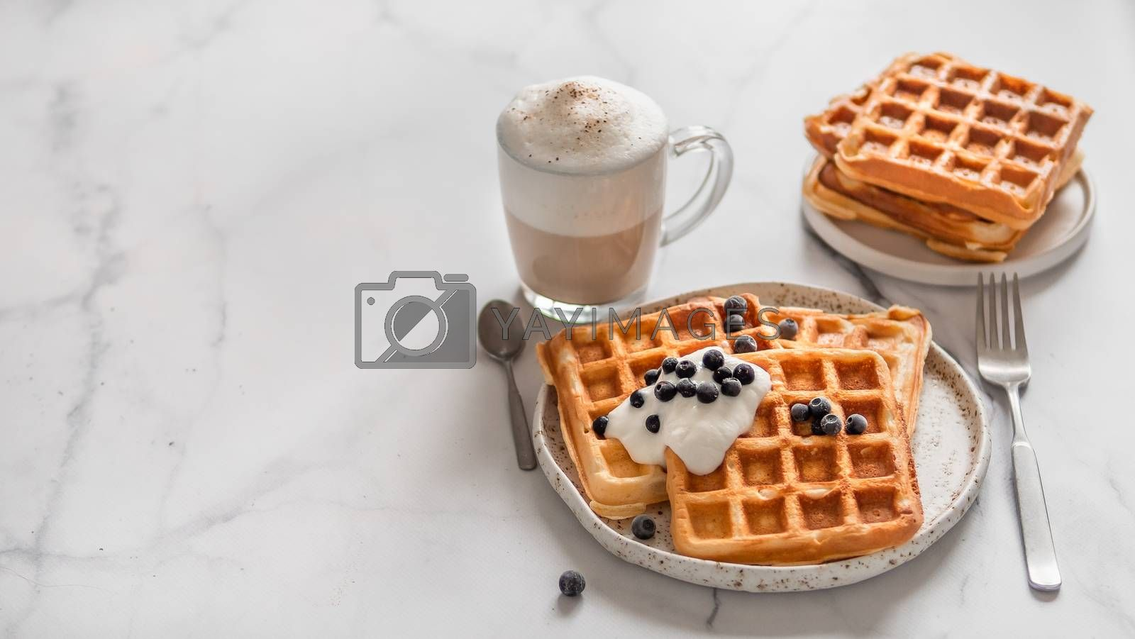 Delicious homemade baked belgian waffles with greek yogurt, blueberries and cappuccino on white marble background. Perfect breakfast with copy space for text or design