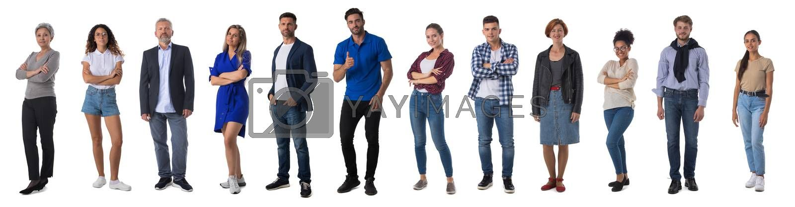 Collection of full length portrait of people in casual clothes isolated on white background