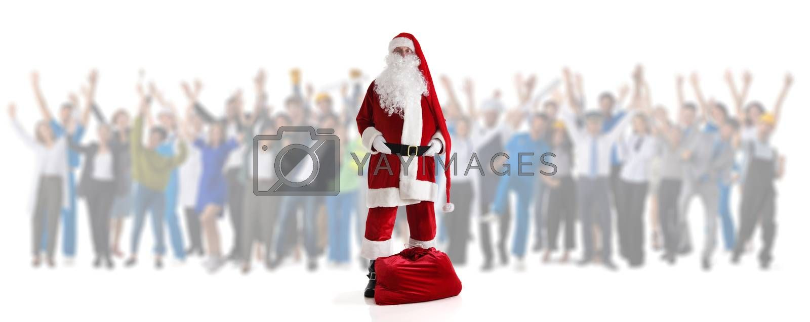 Santa Claus and many happy people isolated on white background Christmas shopping celebration sale concept