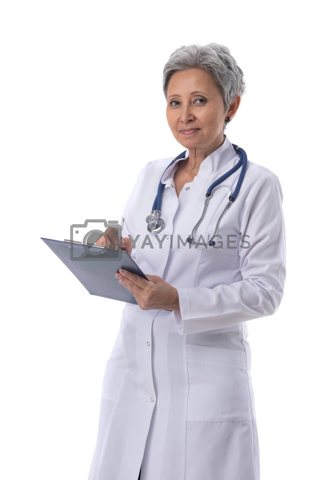 Asian mature female medical doctor with stethoscope taking notes isolated on white background
