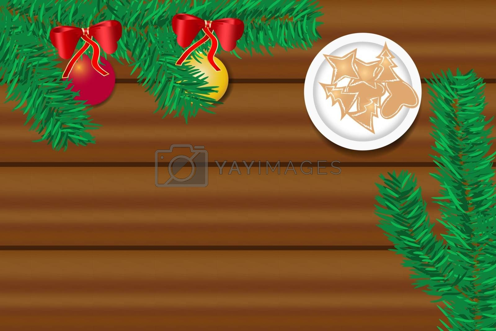 The wooden desk with twig of Christmas tree and Christmas sweets by Frank11