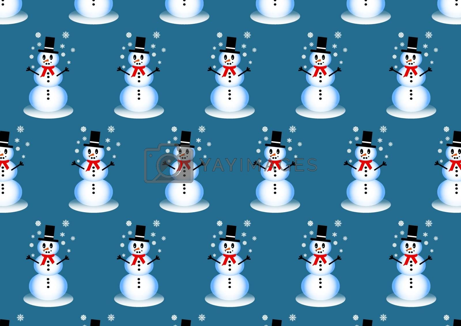 Winter pattern with smiling snowman playing with snowflakes on the trendy blue background.