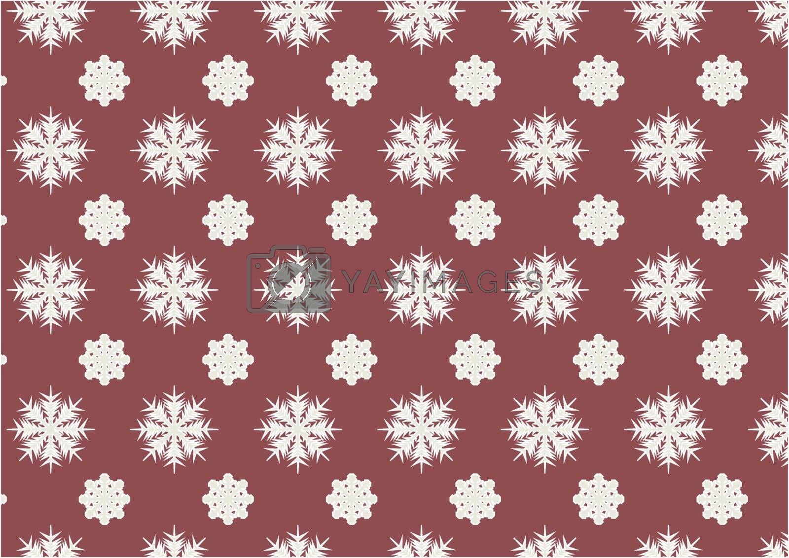 Seamless pattern of snowflakes on the marsala color background.