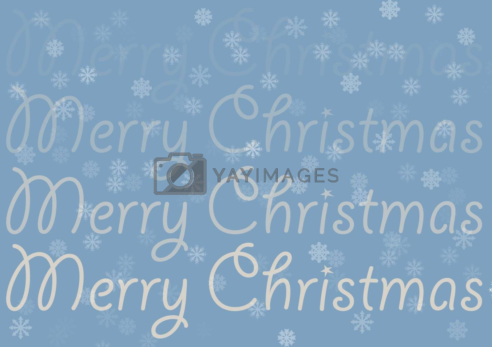 Sign Merry Christmas on the trendy blue background with transparent snowflakes. The inscription is in the direction from top to bottom transparent, full is in the bottom of the vector.