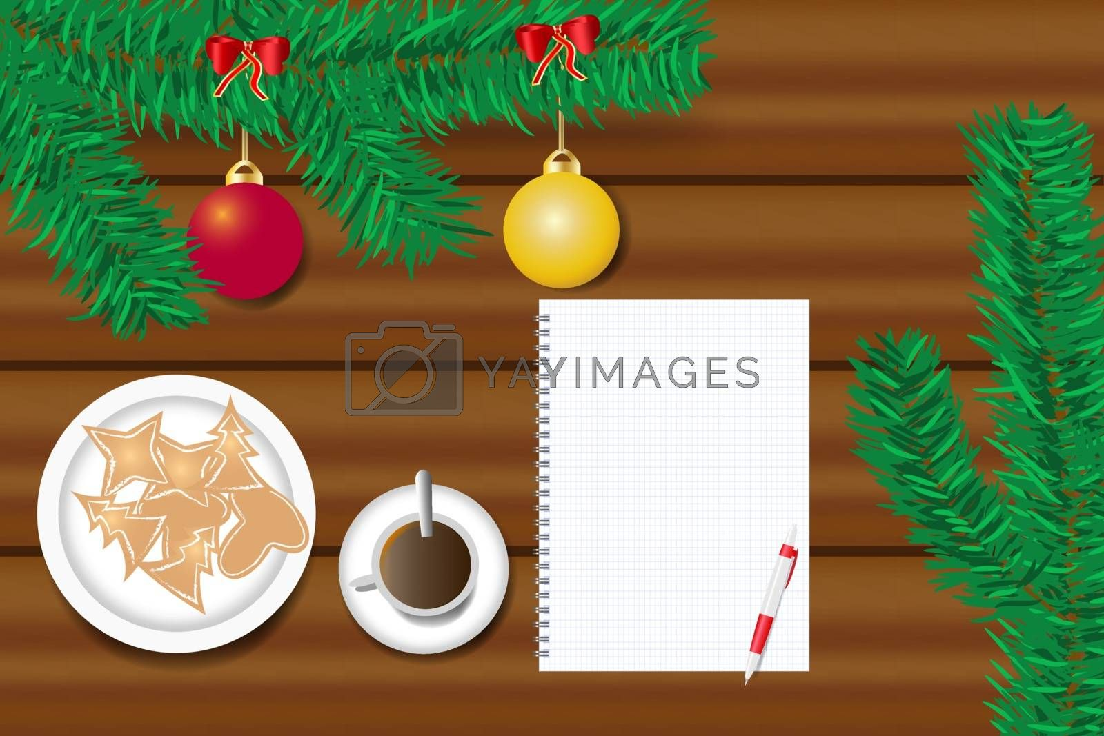 Top view of the table with ornate branch of Christmas tree, Christmas sweets on the plate and  cup of coffee. Blank paper is ready for your text.