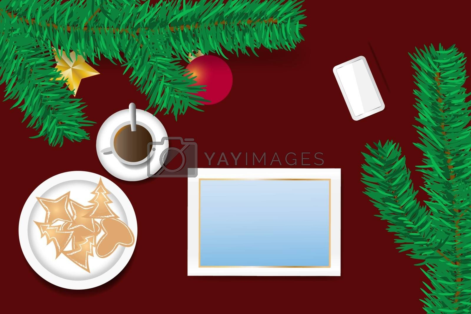 Ornate Christmas with blank screen of tablet concept by Frank11