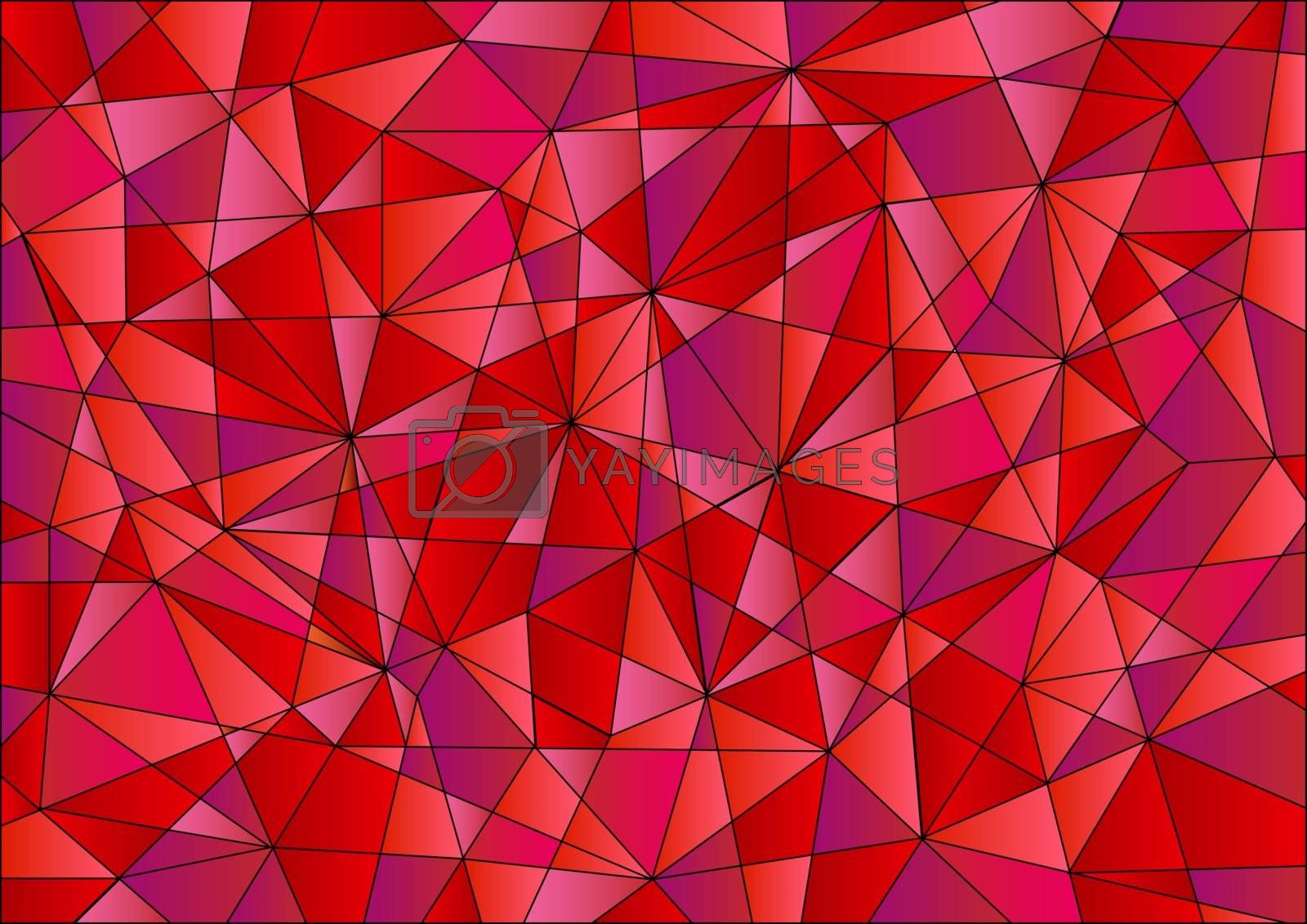 Abstract geometric pattern is composed of triangles of different sizes in red, violet and pink gradients.