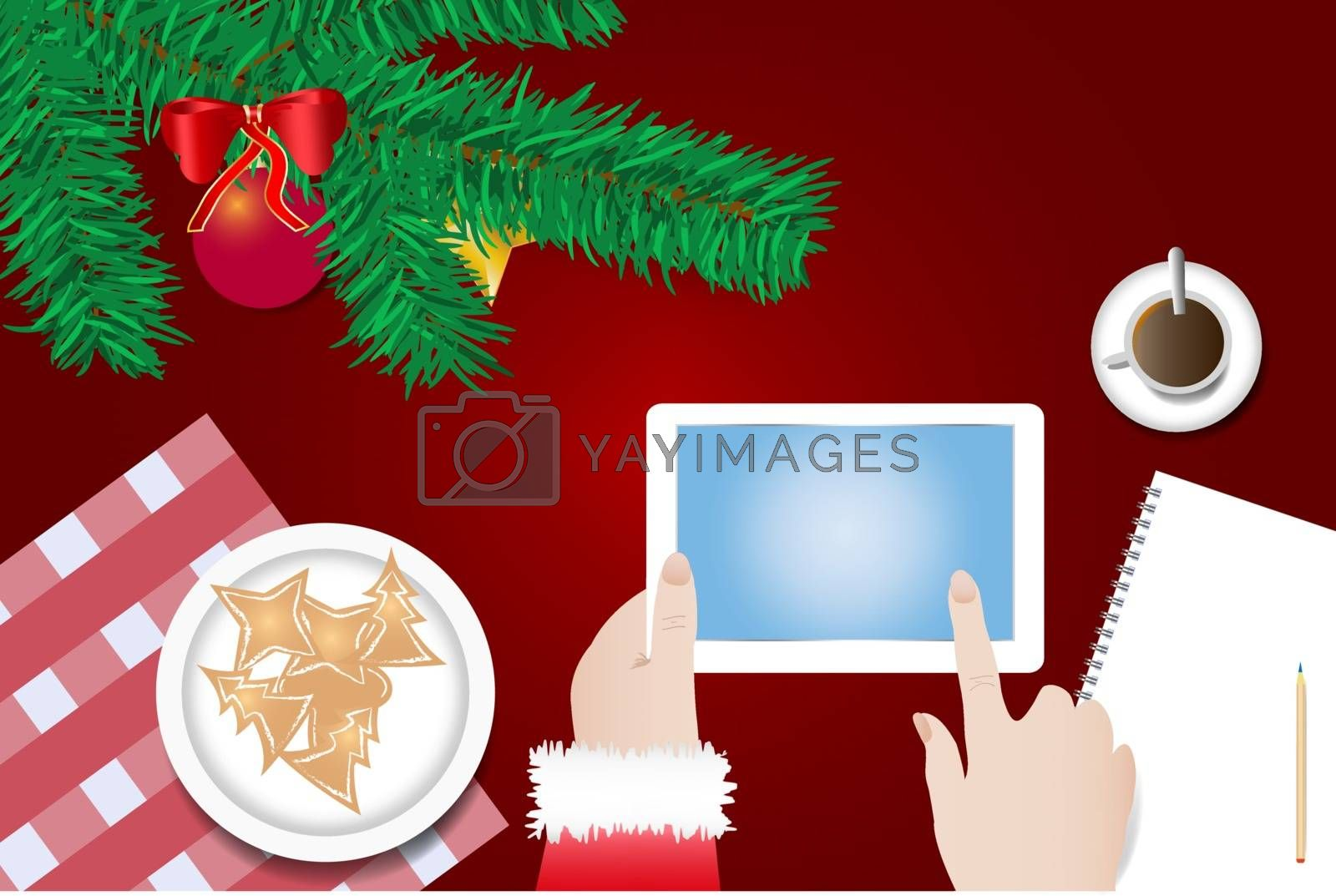 Finger of Santa Claus is touching a blank screen of tablet  by Frank11
