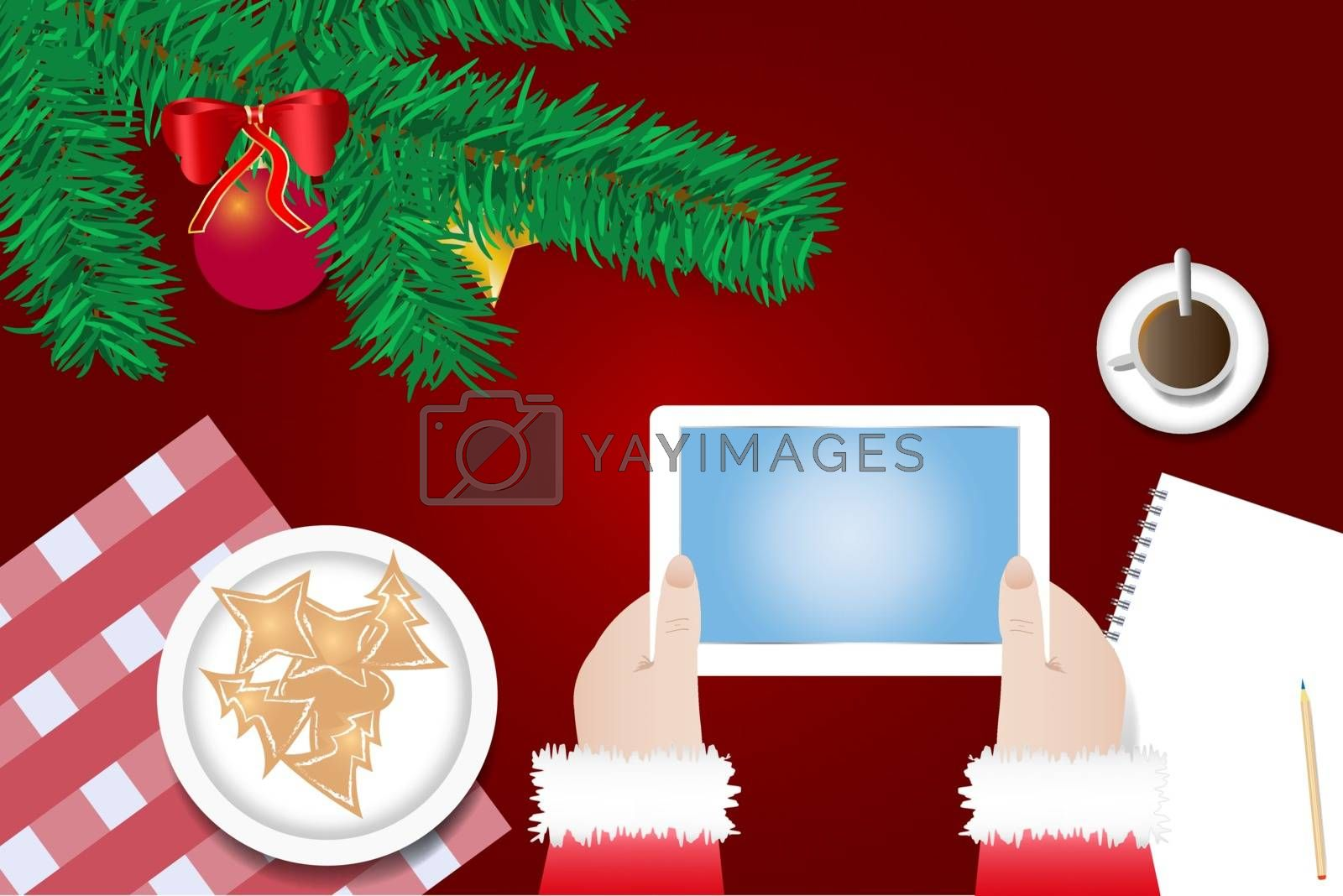 Hands of Santa Claus are holding tablet with blank screen ready for your text over the table with  branch of Christmas tree, Christmas sweets on the plate and  cup of coffee.