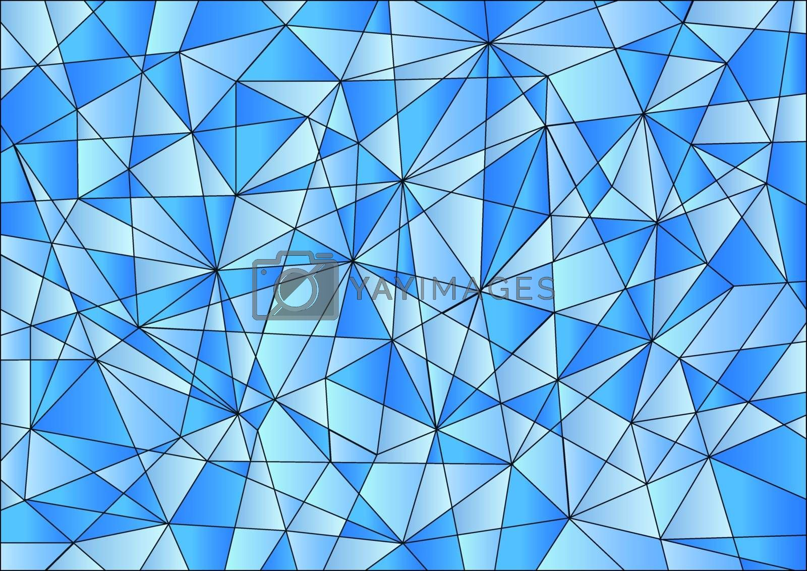 Abstract geometric pattern is composed of triangles of different sizes in blue gradients.