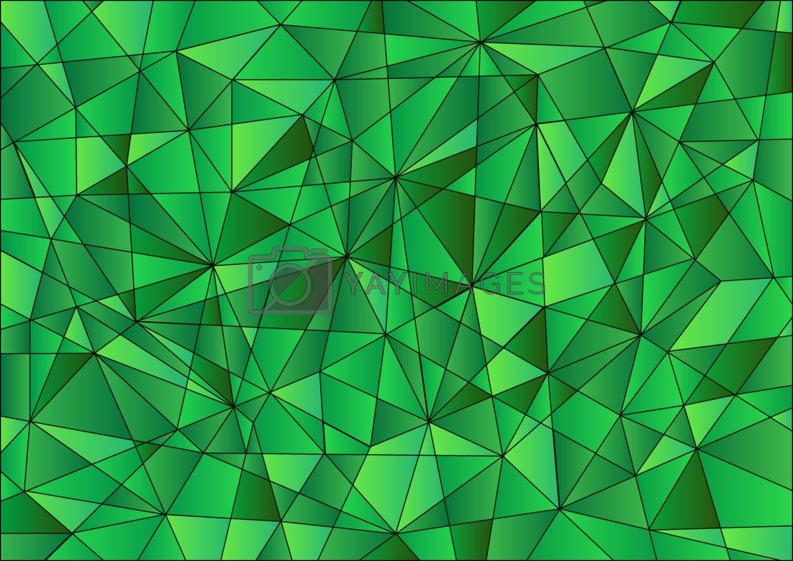 Abstract geometric pattern is composed of triangles of different sizes in green