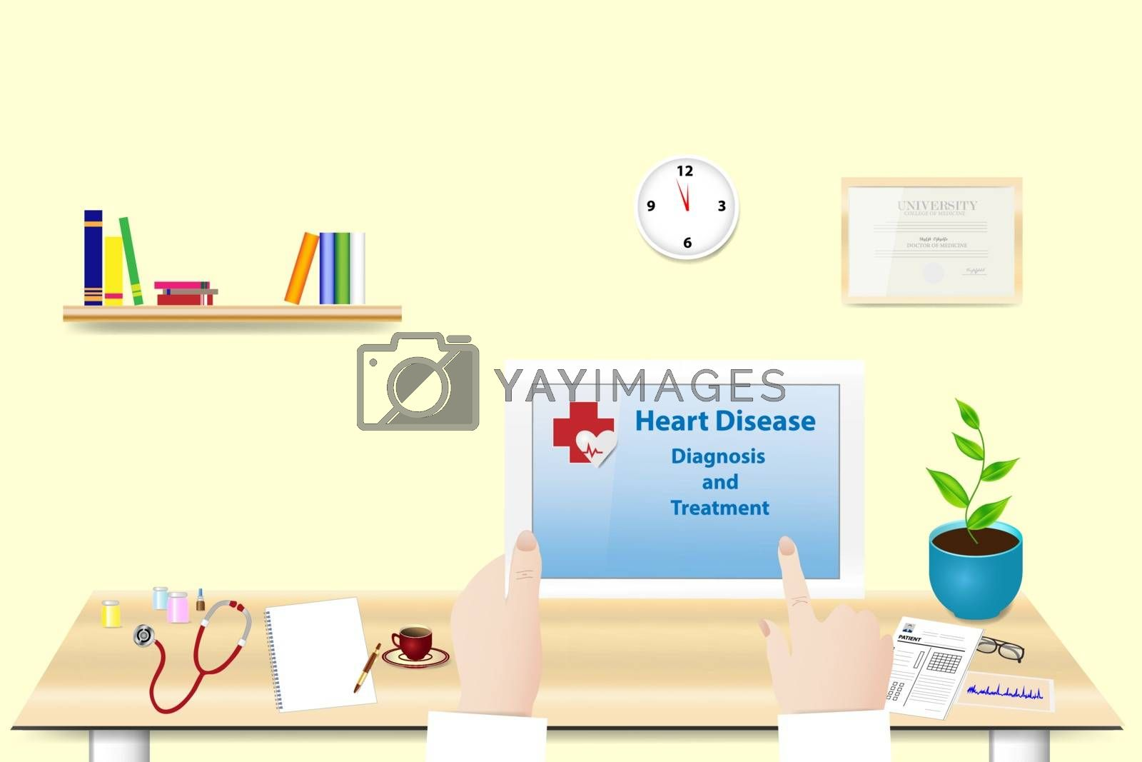 Doctor is holding tablet in her hand in office. The inscription Heart disease diagnosis and treatment is on the tablet screen.