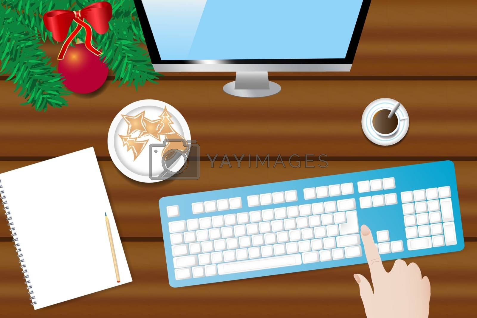 Wooden desk with Christmas decoration, PC monitor and keyboard by Frank11