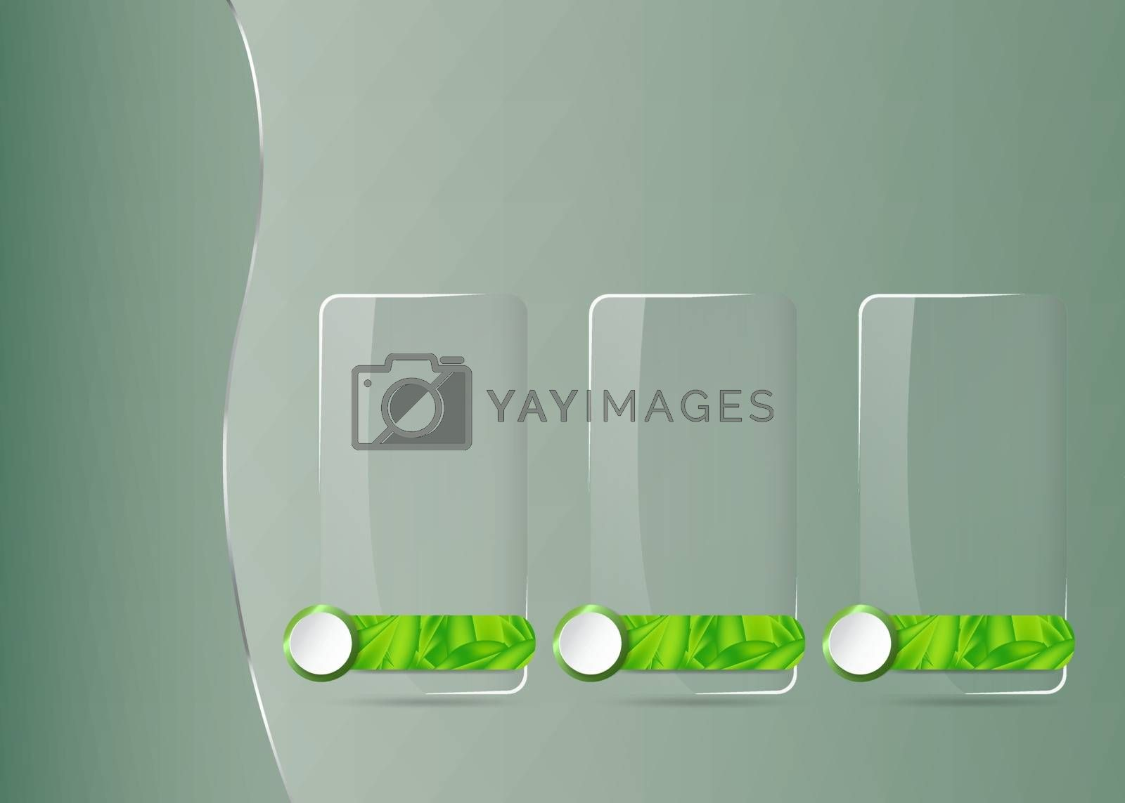 Environmental infographic template vector of three blank trabsparent labels of green leaves design ready for your use