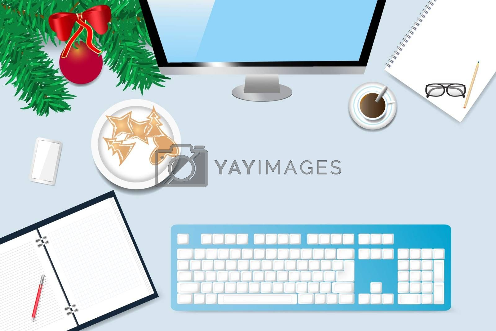 Top view of the office desk with twig of Christmas tree,  coffee cup, blank notebook, paper with pen, computer monitor and keyboard.