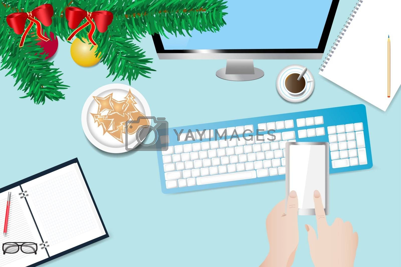 Christmas office desk with hand holding smart phone by Frank11