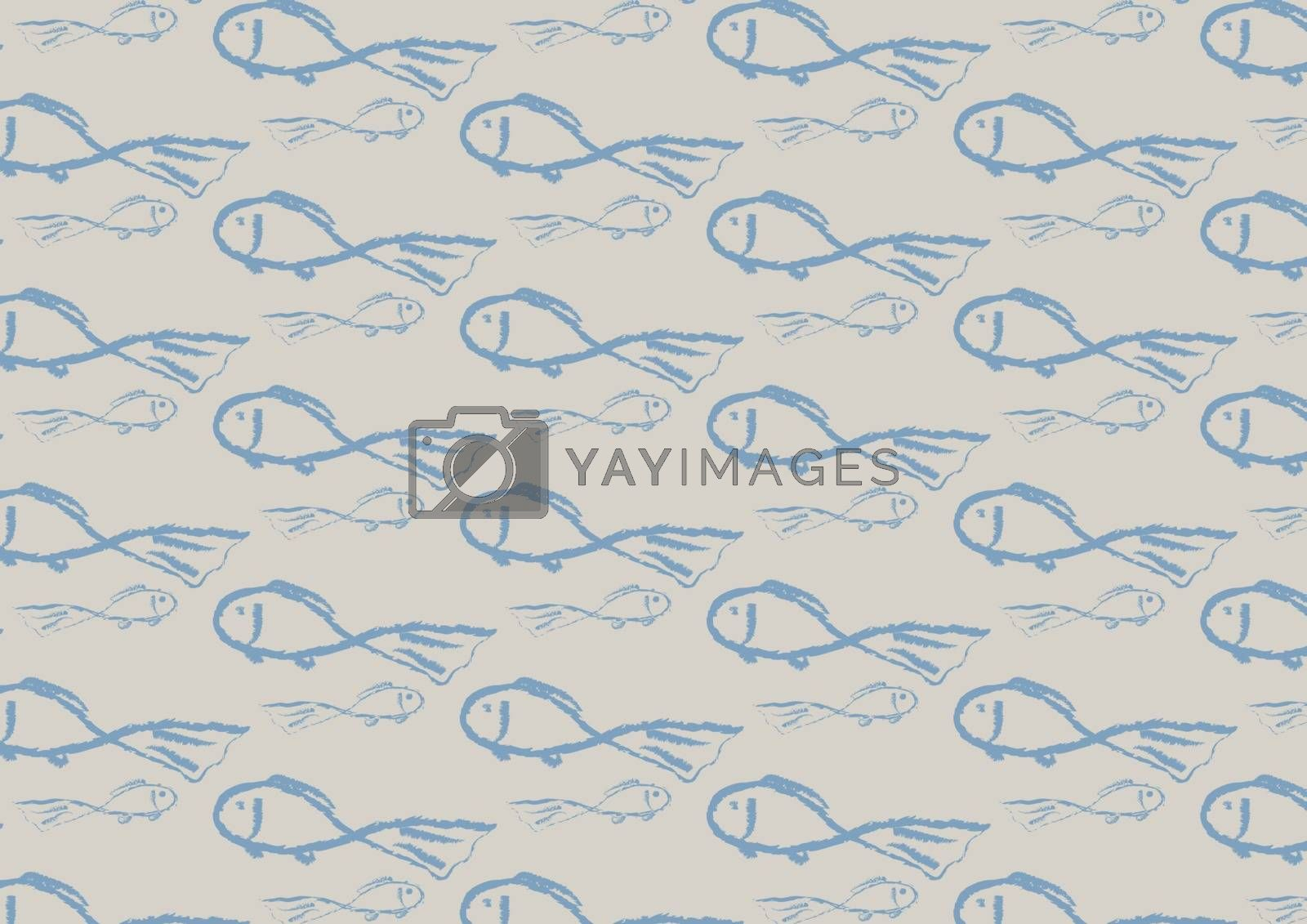Seamless pattern of blue fishes on the trendy light background. Vector illustration.