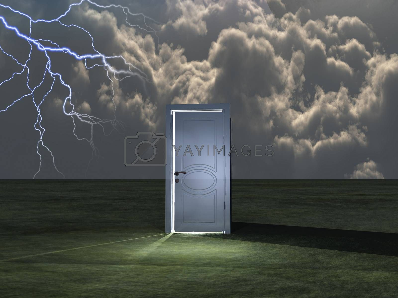 Open white door. 3D rendering