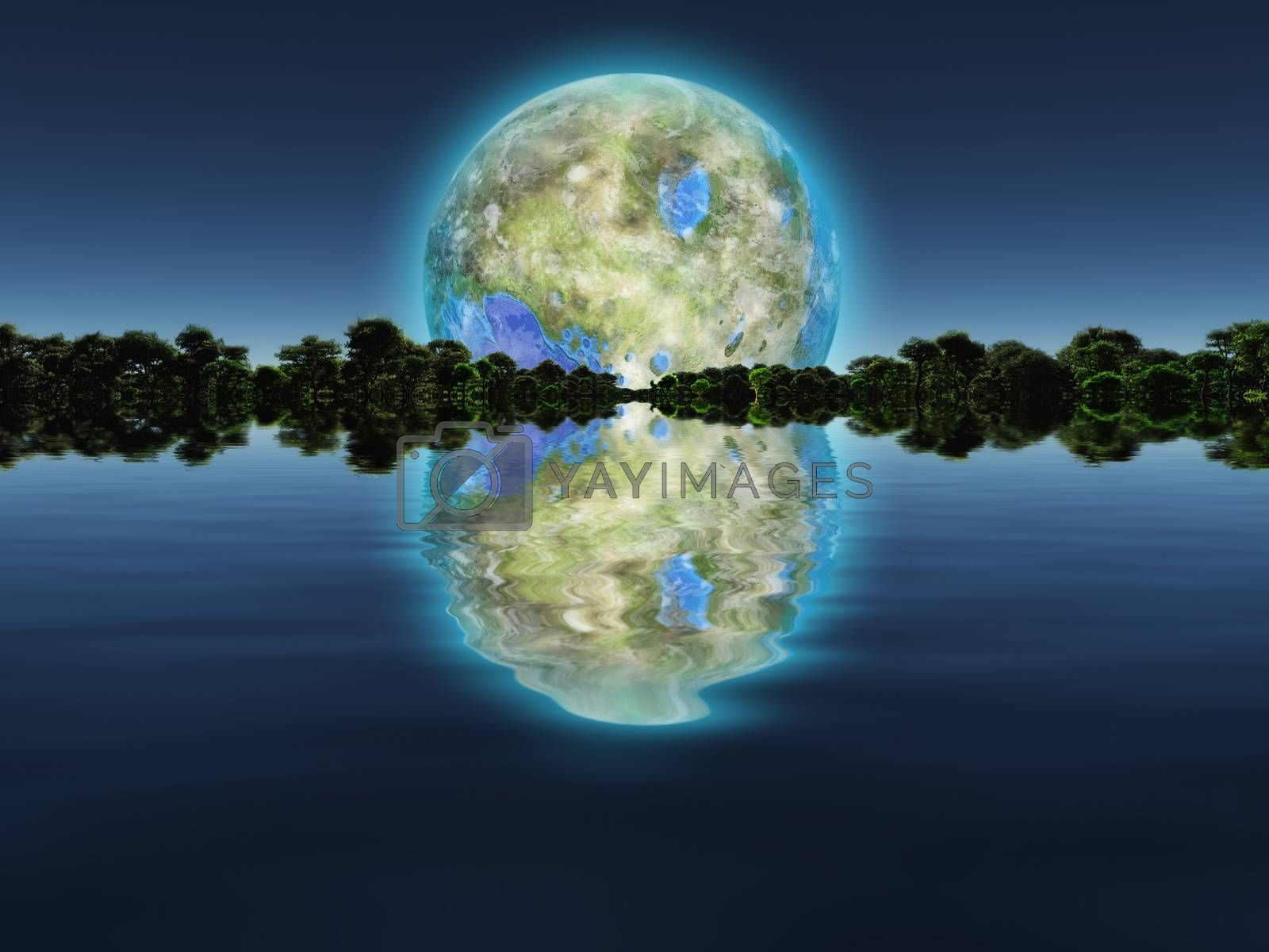 Terraformed moon over water world. 3D rendering