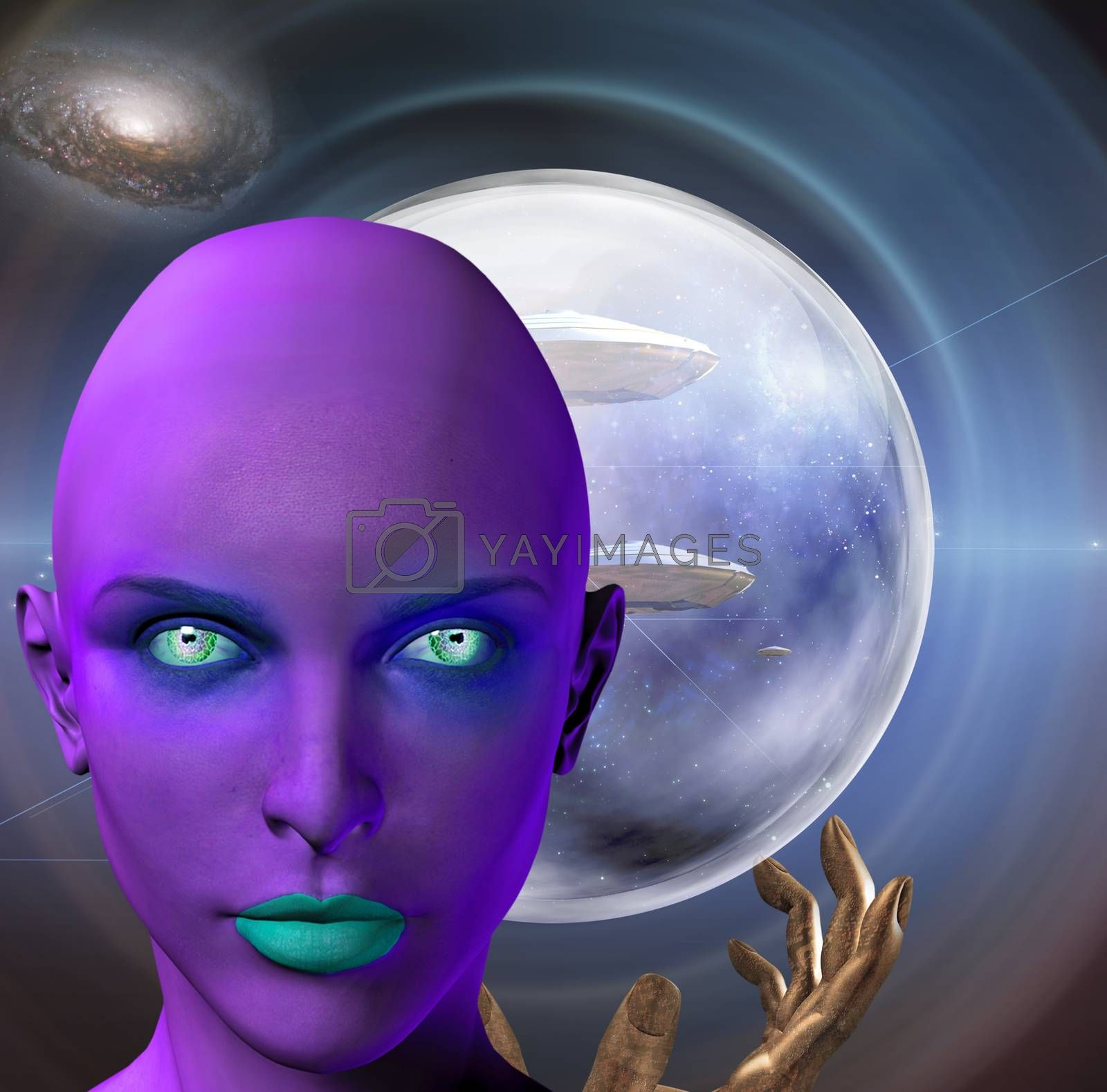 The face of female alien and praying hands. Flying saucers in deep space on a background. 3D rendering