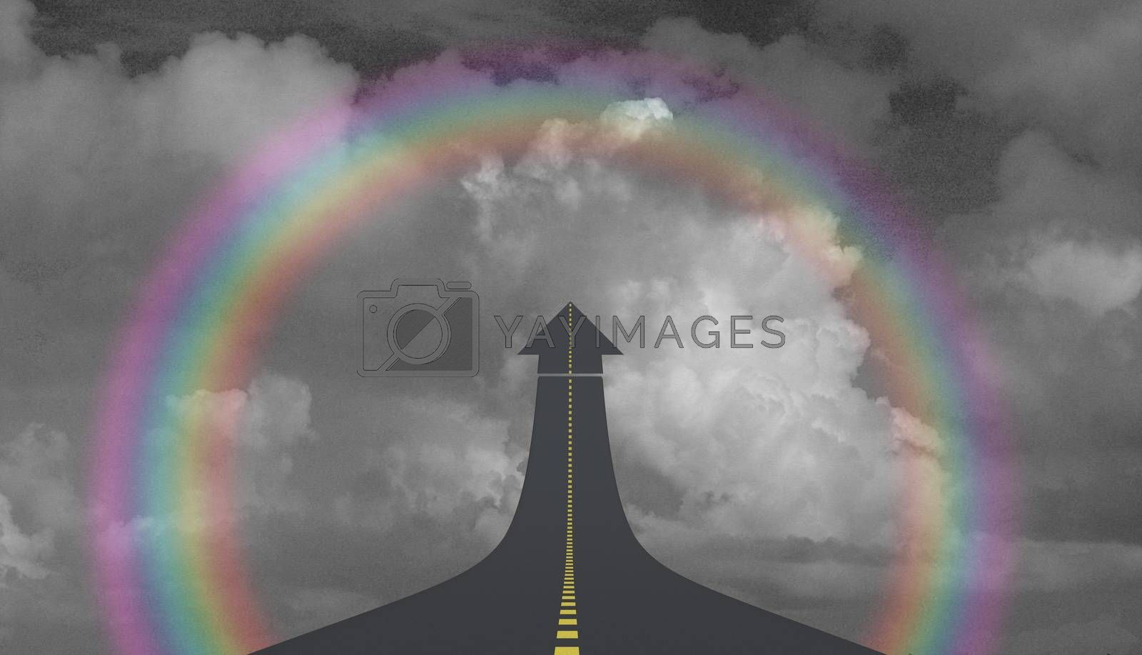 Highway to sky in arrow shape and rainbow. 3D rendering