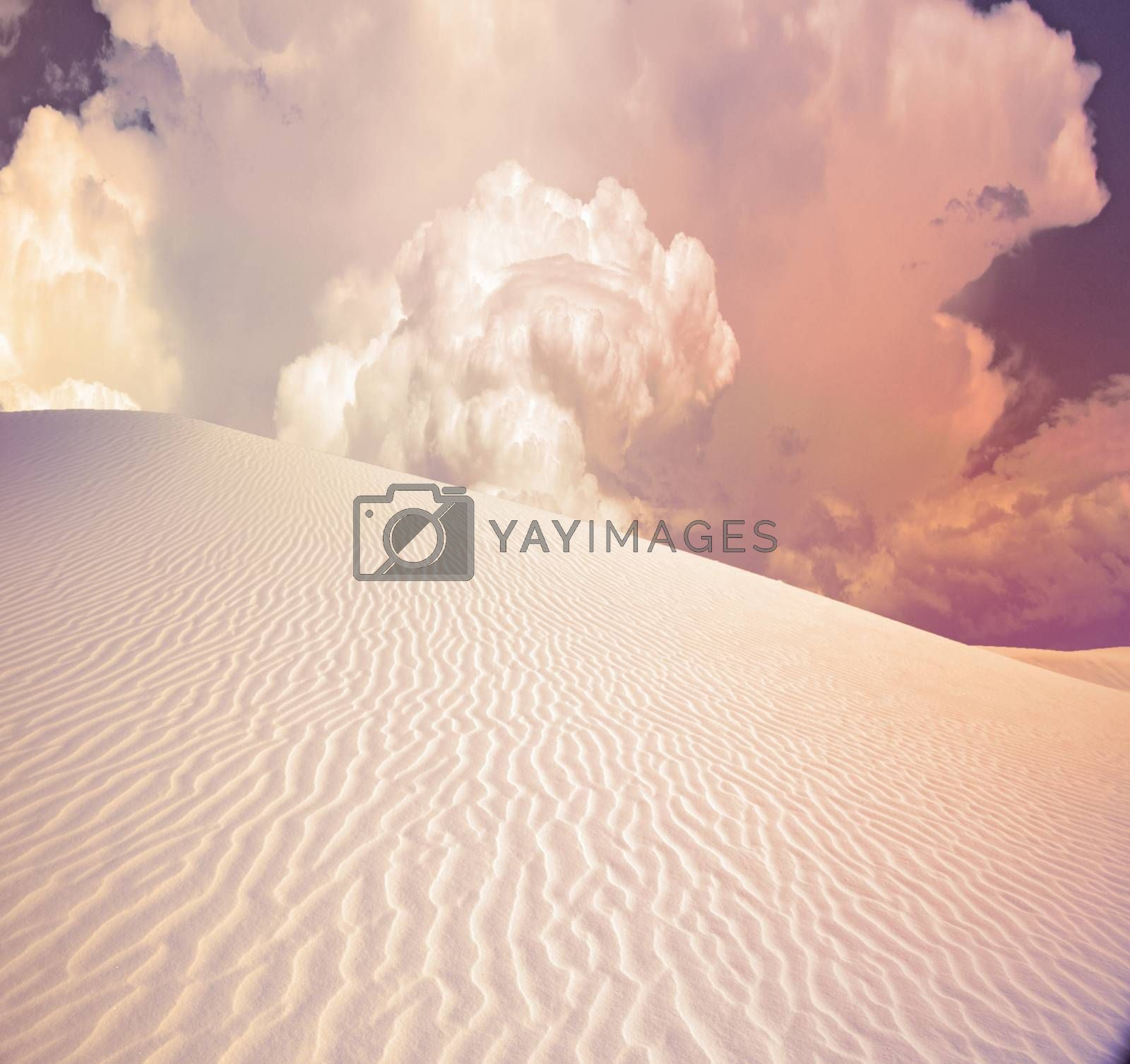 Desert dune in pink light. 3D rendering