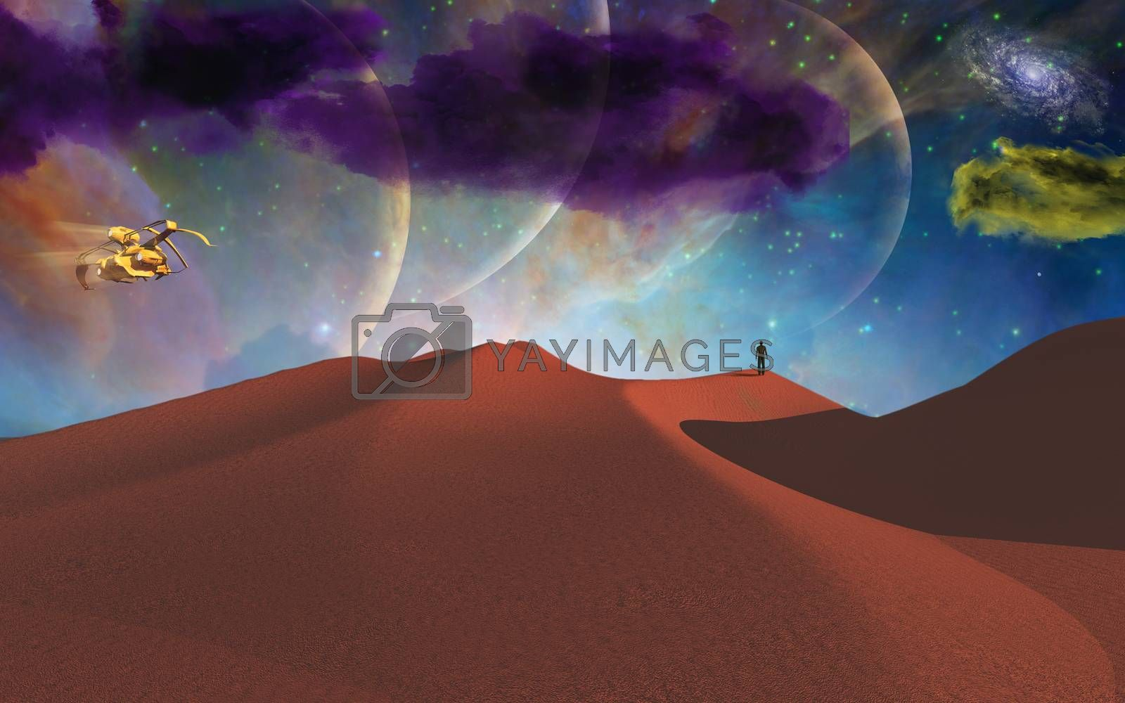 Lonely man in desert on alien planet. 3D rendering