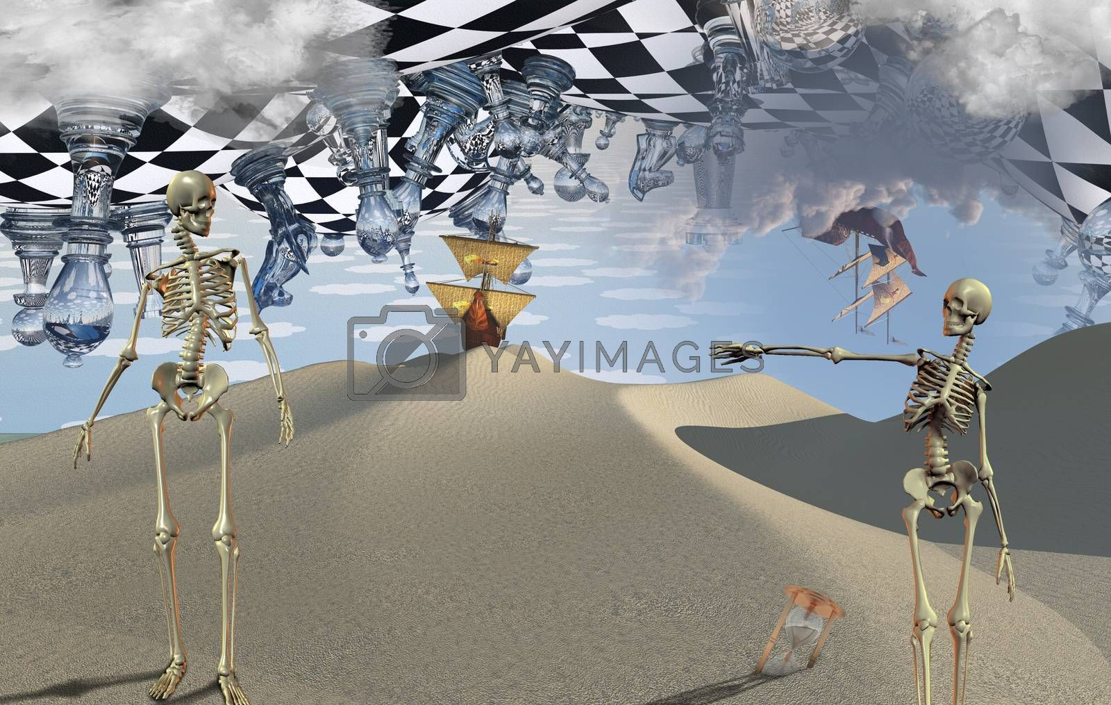 Surreal desert with chessboard and figures. Ancient ship in the sky. Skeletons and hourglass. Ancient ship on a sand dune. 3D rendering