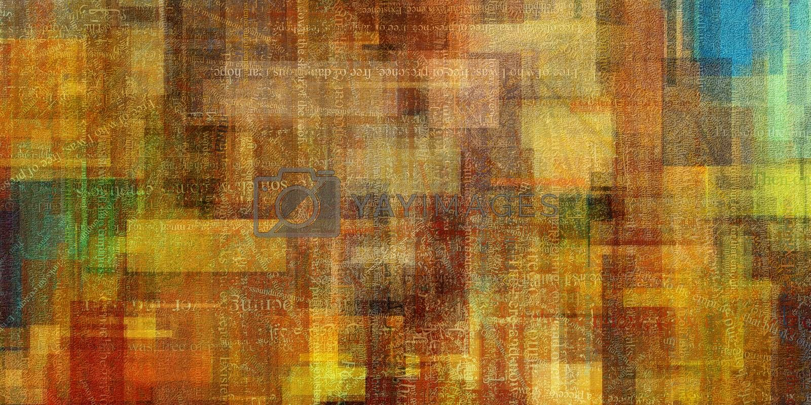 Modern Abstract of squares and text. 3D rendering