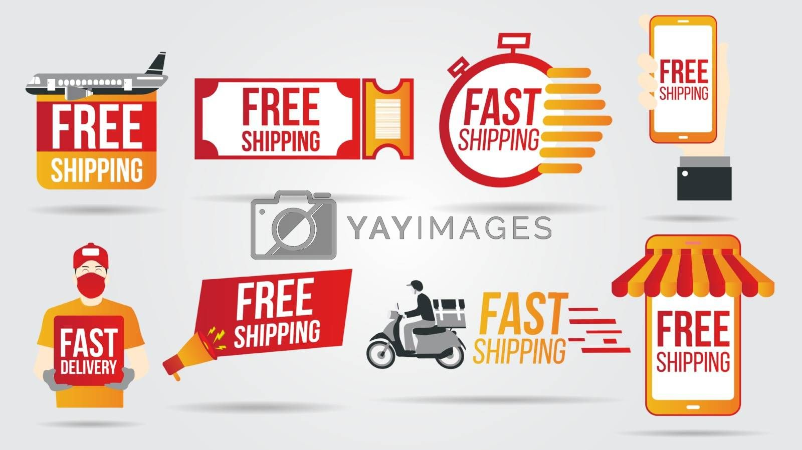 Free and fast shipping delivery icons and buttons pack logistics transportation shipping service warehouse industry and global theme Vector illustration.Flat vector illustrations on white background.