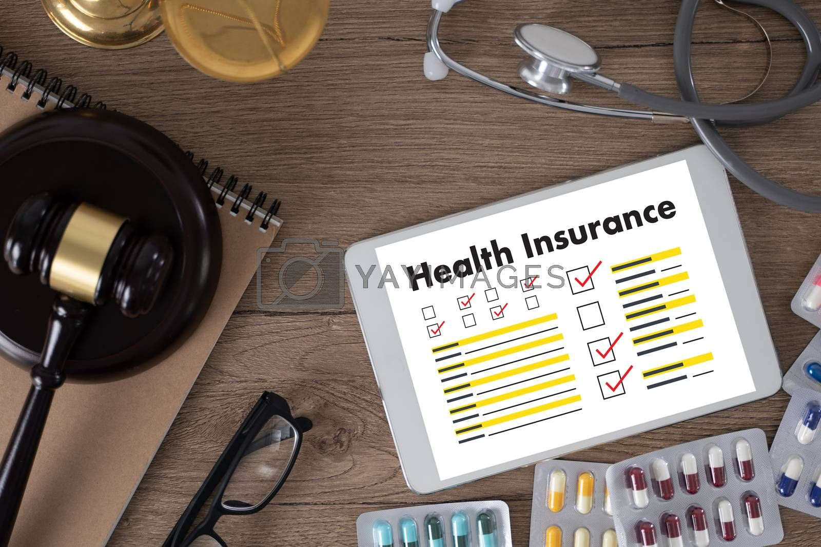 Health insurance   Claim form and Medical equipment health insurance concept for life