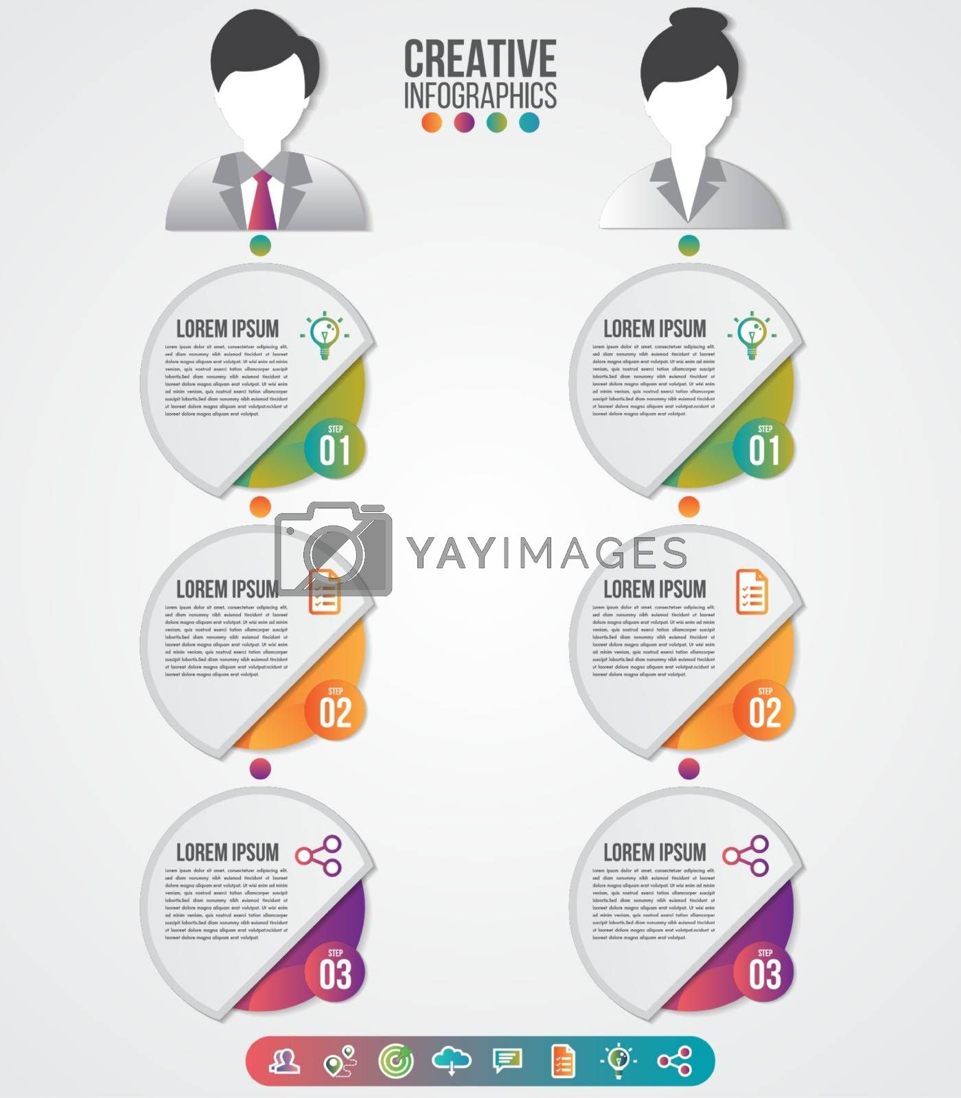 Infographics template men and women symbol avatar with icons set by Zeedoherty
