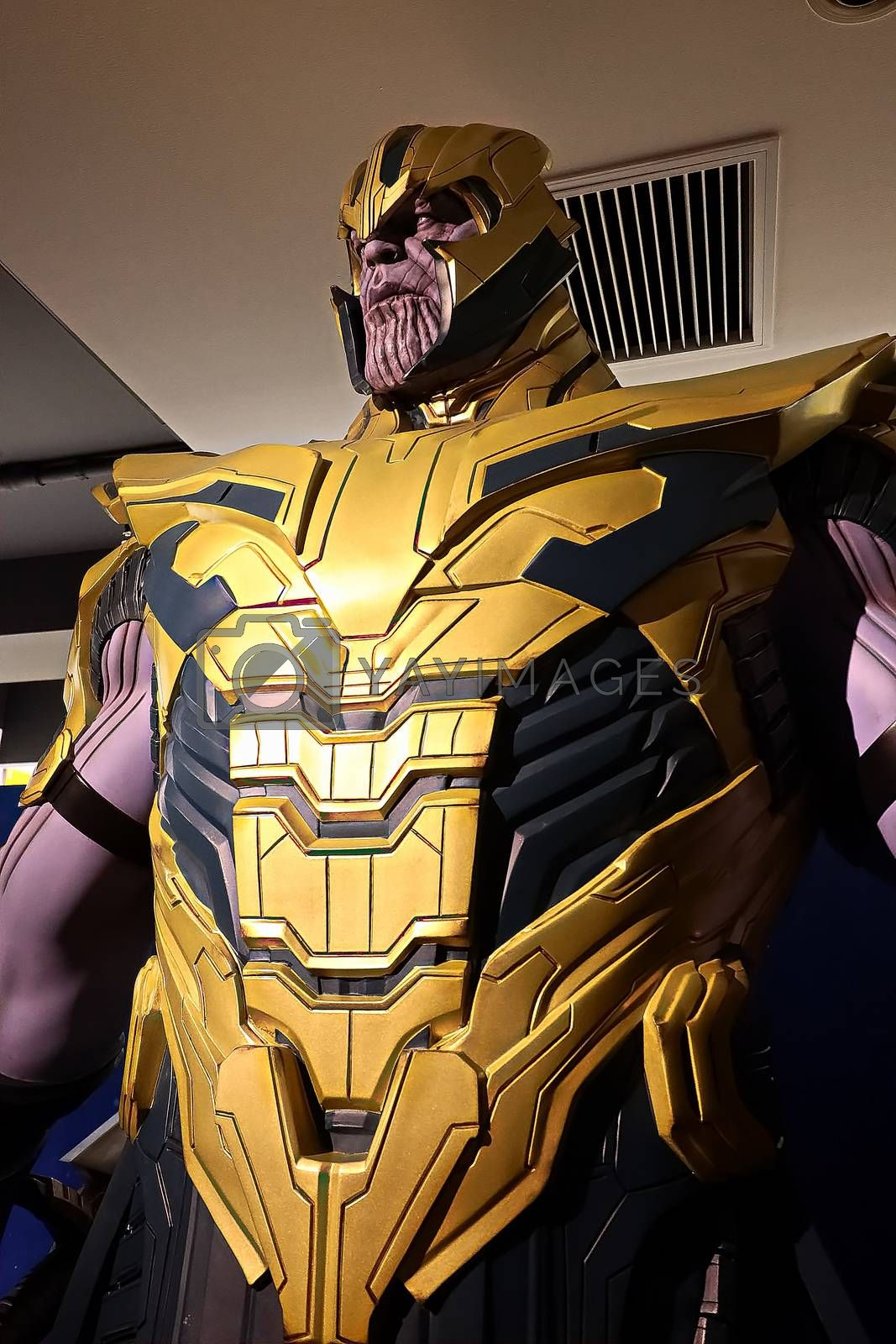 Royalty free image of Thanos full armor suit action figure show for promote Avengers endgame movie by USA-TARO