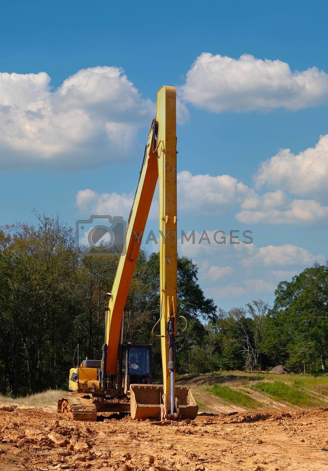 Tall Loader on Graded Construction Site in a Residential Development