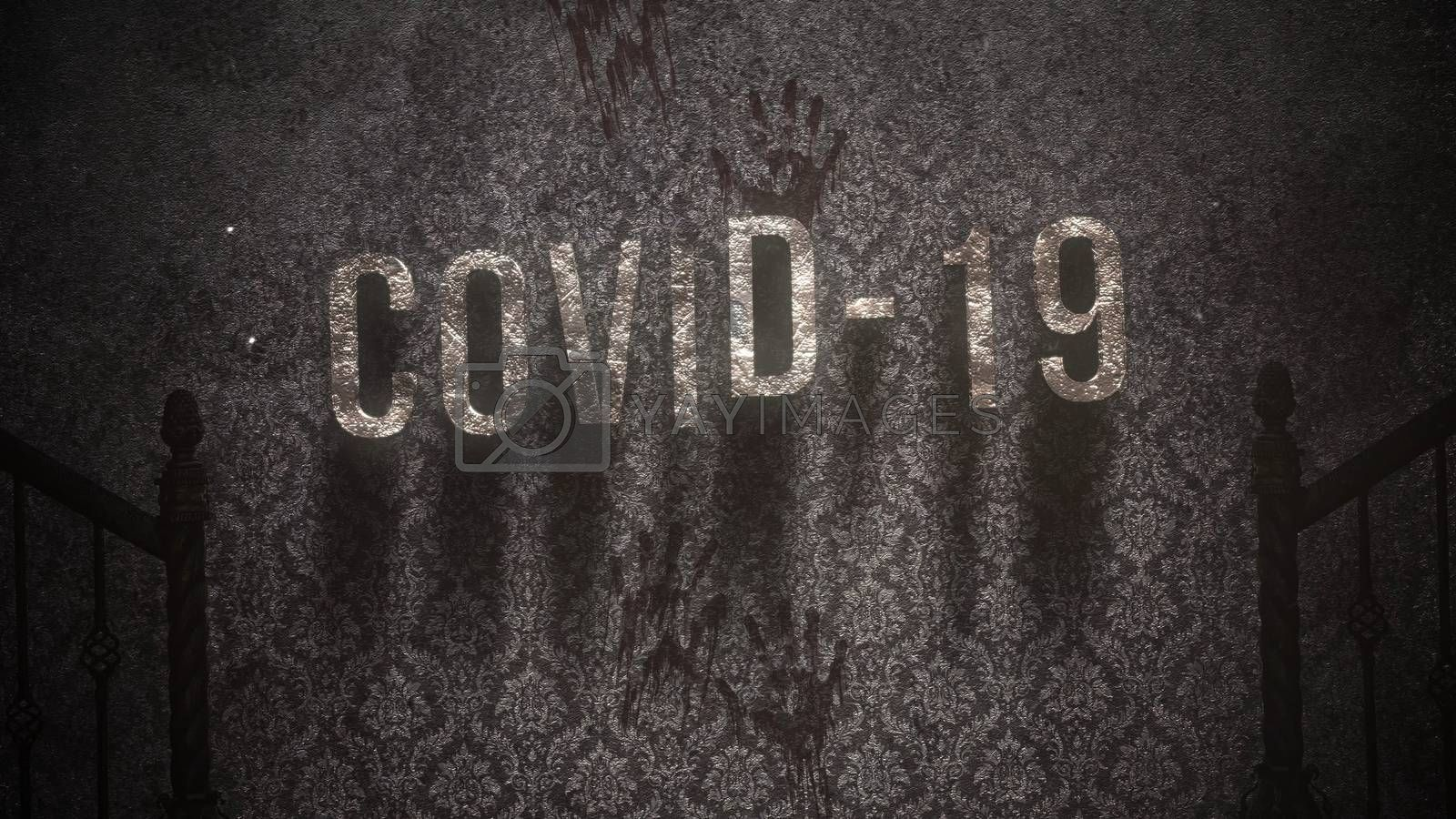Closeup text Covid-19 and mystical horror background with dark hall of room. Abstract backdrop, luxury and elegant 3d illustration of horror theme