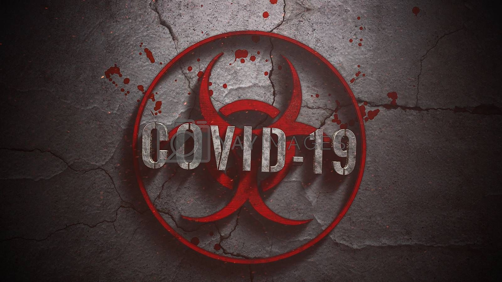 Closeup text Covid-19 and mystical horror background with toxic sign and dark blood, abstract backdrop. Luxury and elegant 3d illustration of horror theme