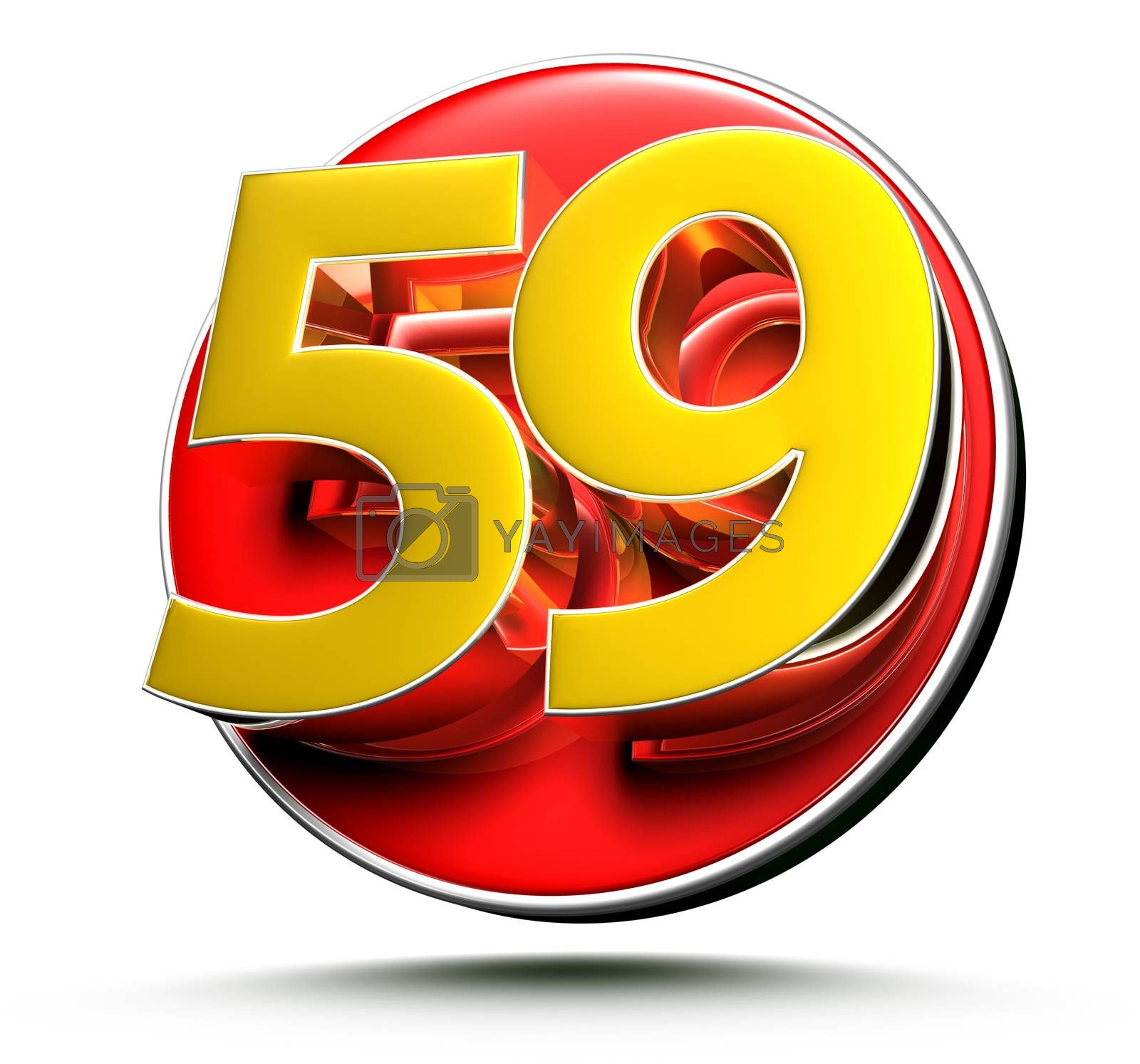 3D illustration Golden number 59 isolated on a white background.(with Clipping Path).