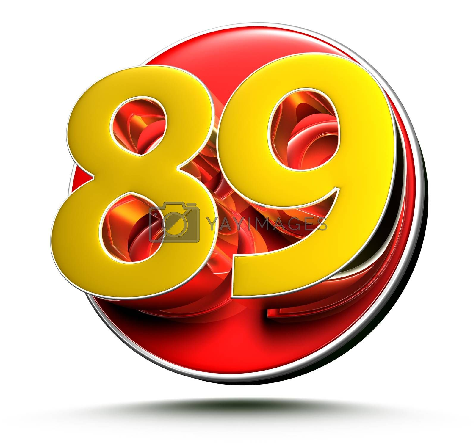 3D illustration Golden number 89 isolated on a white background.(with Clipping Path).