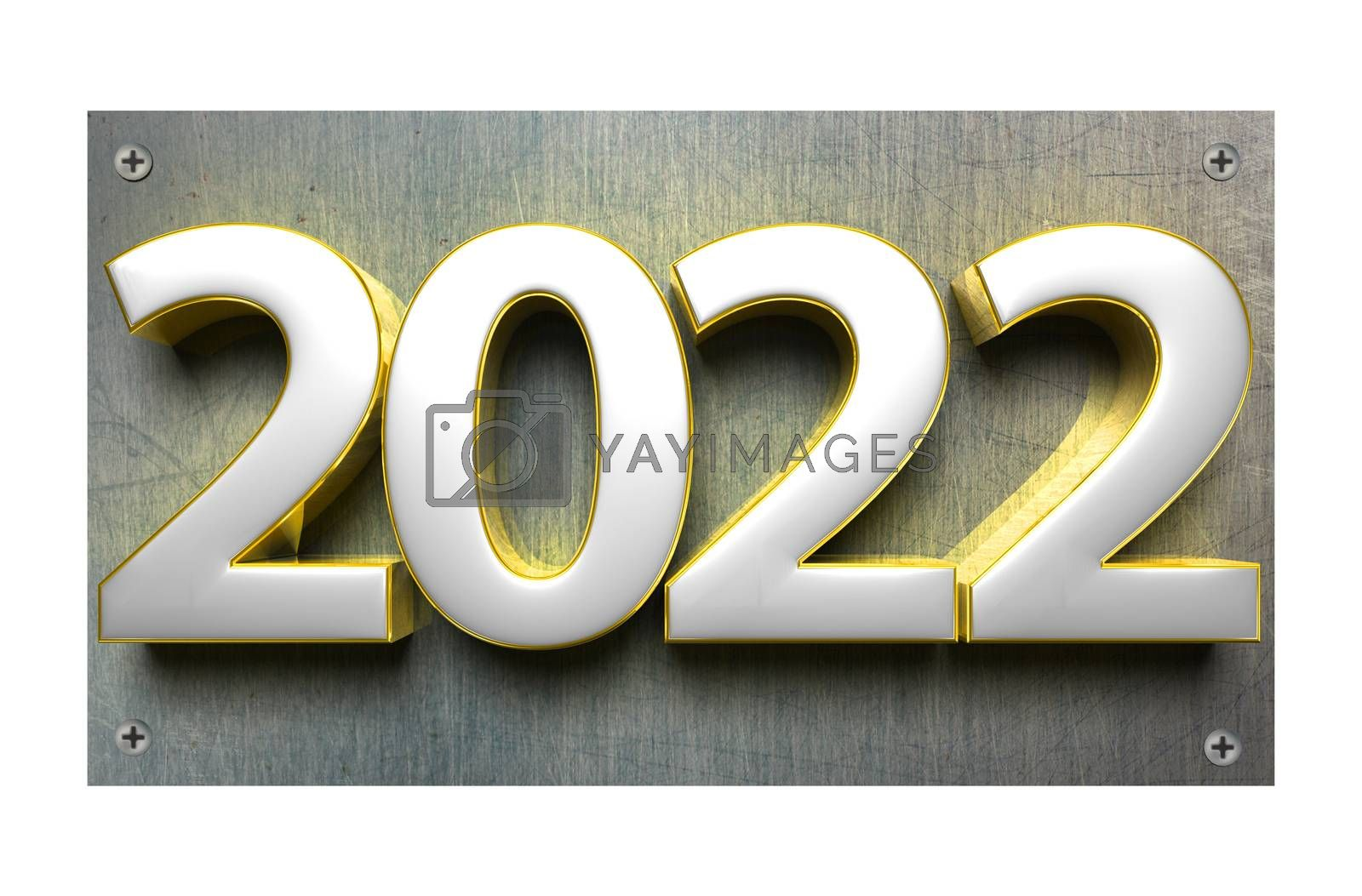 3D illustration number 2022 Stainless Steel Signs isolated on a white background.(with Clipping Path).