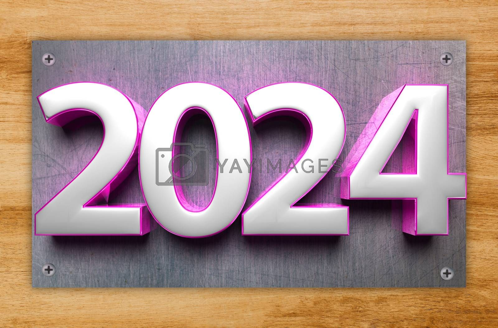 3D illustration number 2024 Stainless Steel Signs isolated Wood grain background.(with Clipping Path).