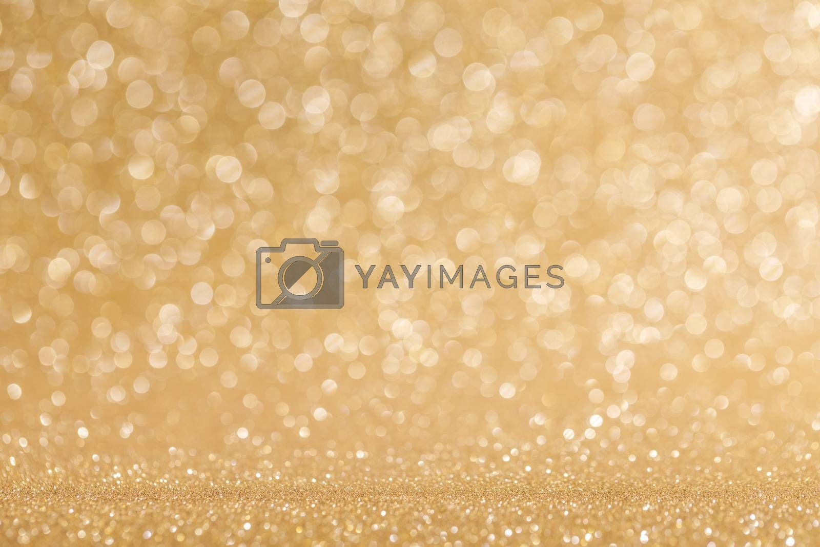 Shiny golden bokeh glitter lights abstract background, Christmas New Year luxury party celebration concept