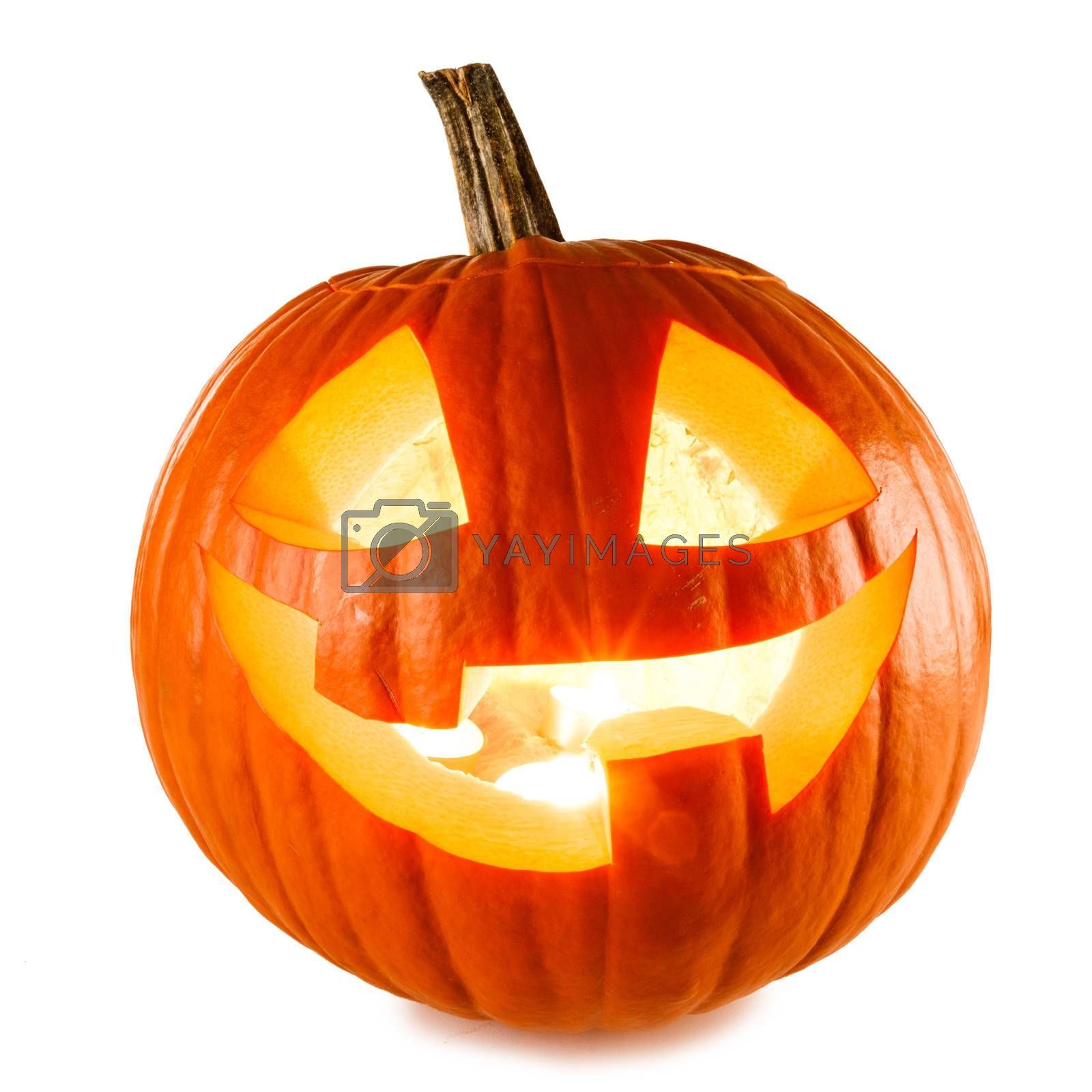 Glowing angry Halloween Pumpkin isolated on white background