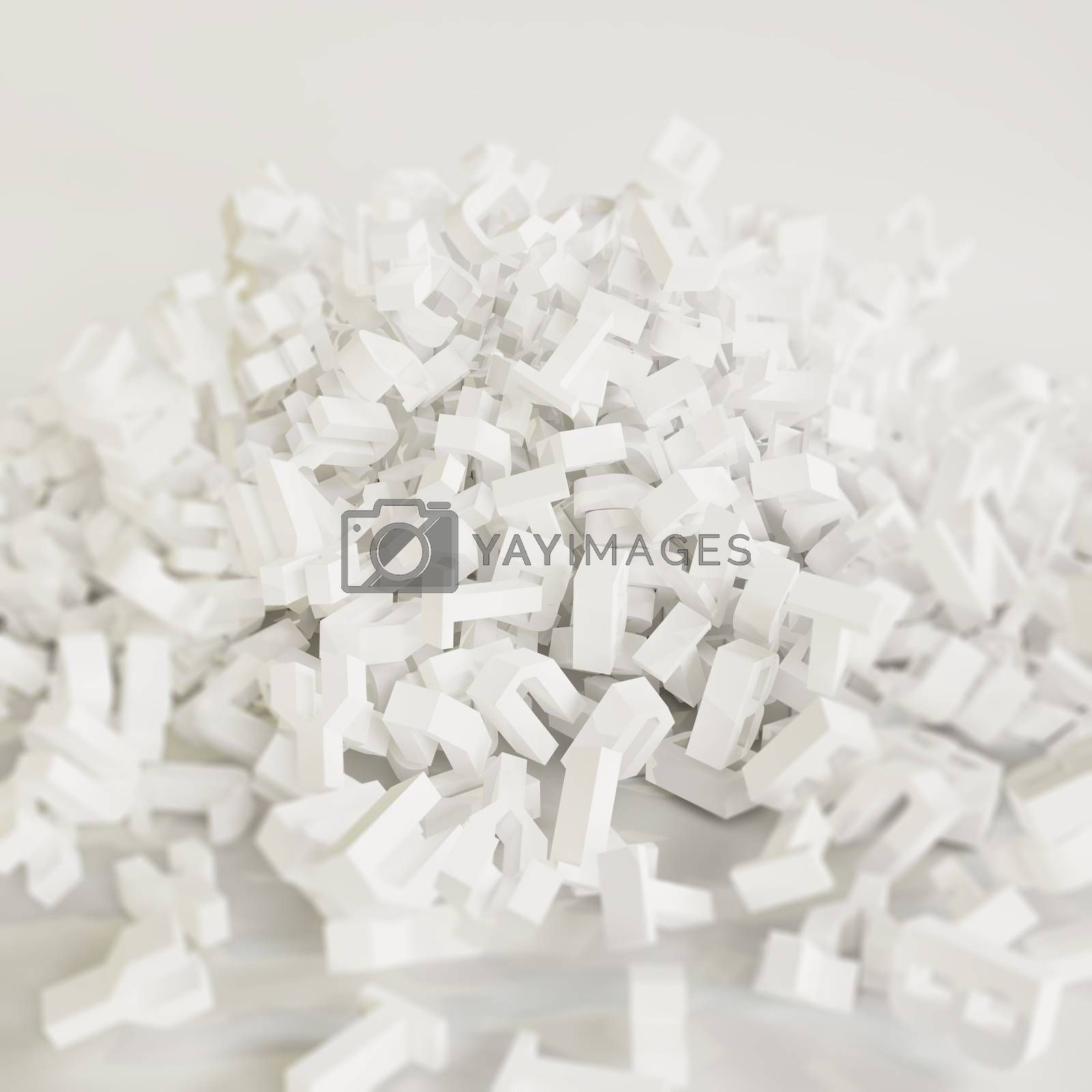 falling letters on white floor isolated on white background 3d illustration