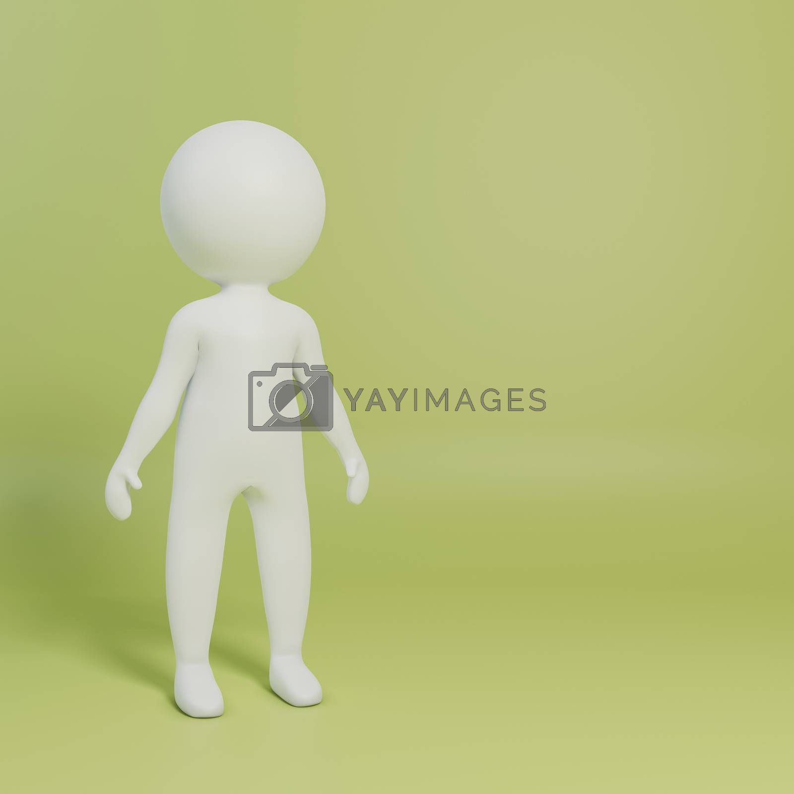 stick man isolated on yellow background 3d illustration