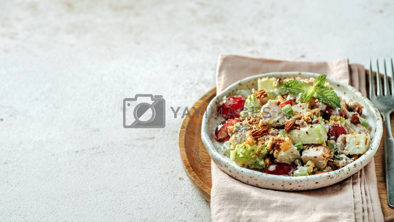 Waldorf salad with copy space. American fruit and nut salad with apples, celery, grapes, chicken meat, dressed mayonnaise. Craft plate with ready-to-eat waldorf salad on gray cement background. Banner