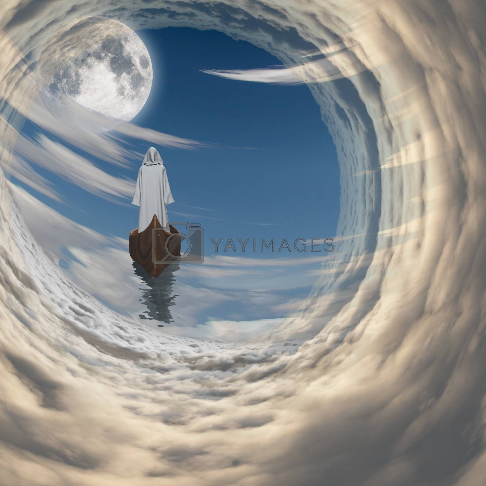 Figure in white robe floating to fulll moon in clouds. 3D rendering